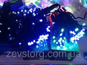 Новогодняя гирлянда нить 10 м,  черный кабель(100 Led), синий, мульти